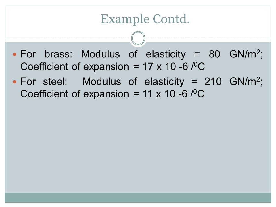 Example Contd. For brass: Modulus of elasticity = 80 GN/m2; Coefficient of expansion = 17 x 10 -6 /0C.
