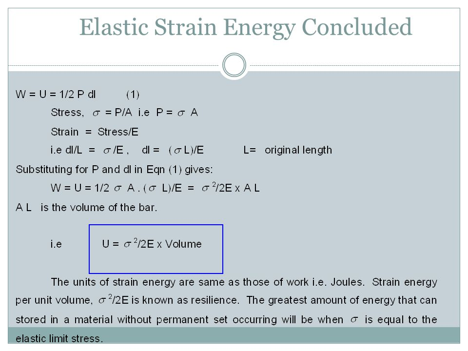Elastic Strain Energy Concluded