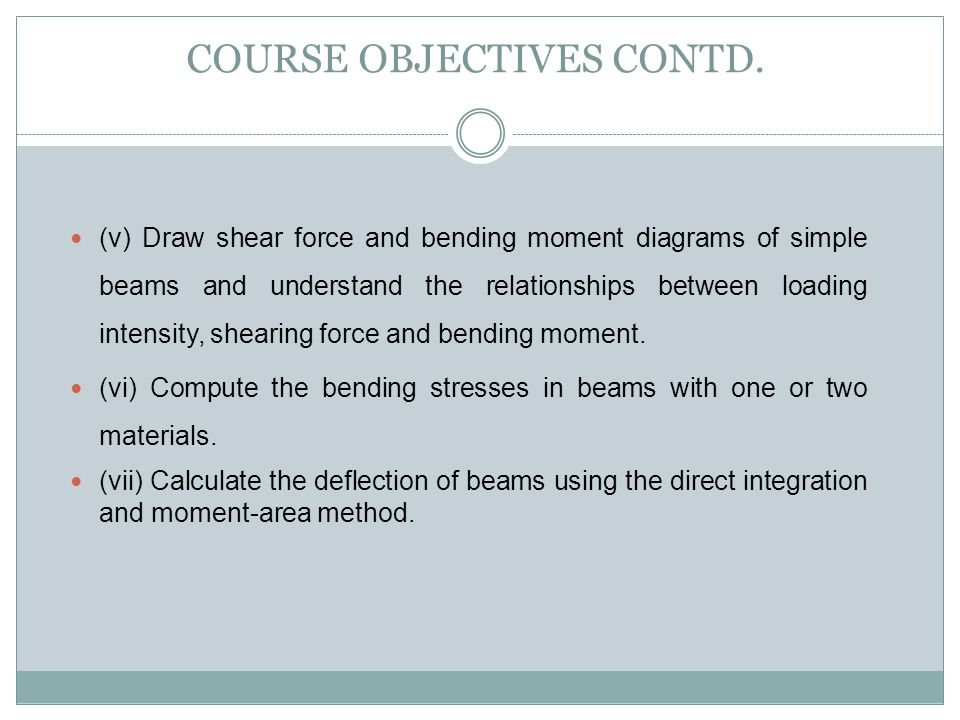 COURSE OBJECTIVES CONTD.