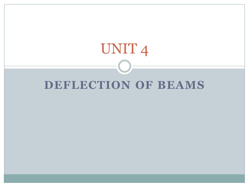 UNIT 4 DEFLECTION OF BEAMS