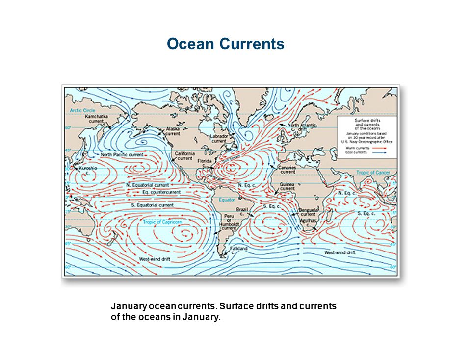 Ocean Currents January ocean currents. Surface drifts and currents of the oceans in January.