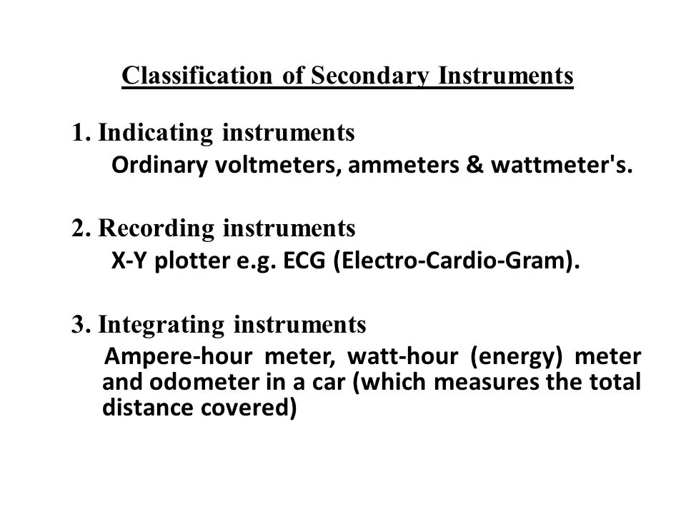 Classification of Secondary Instruments