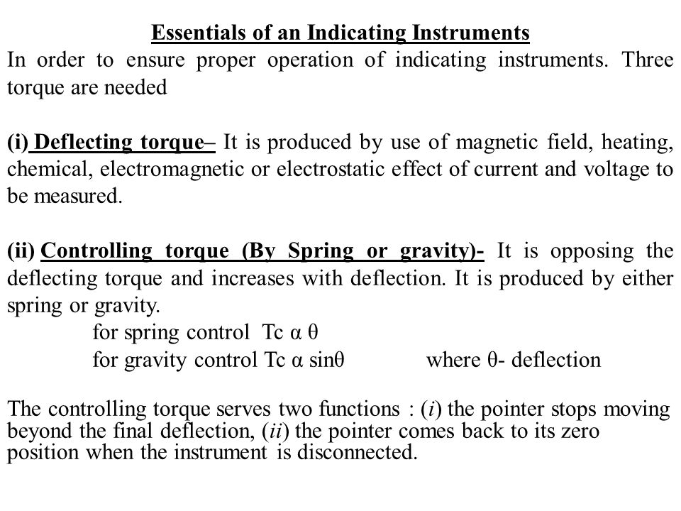 Essentials of an Indicating Instruments
