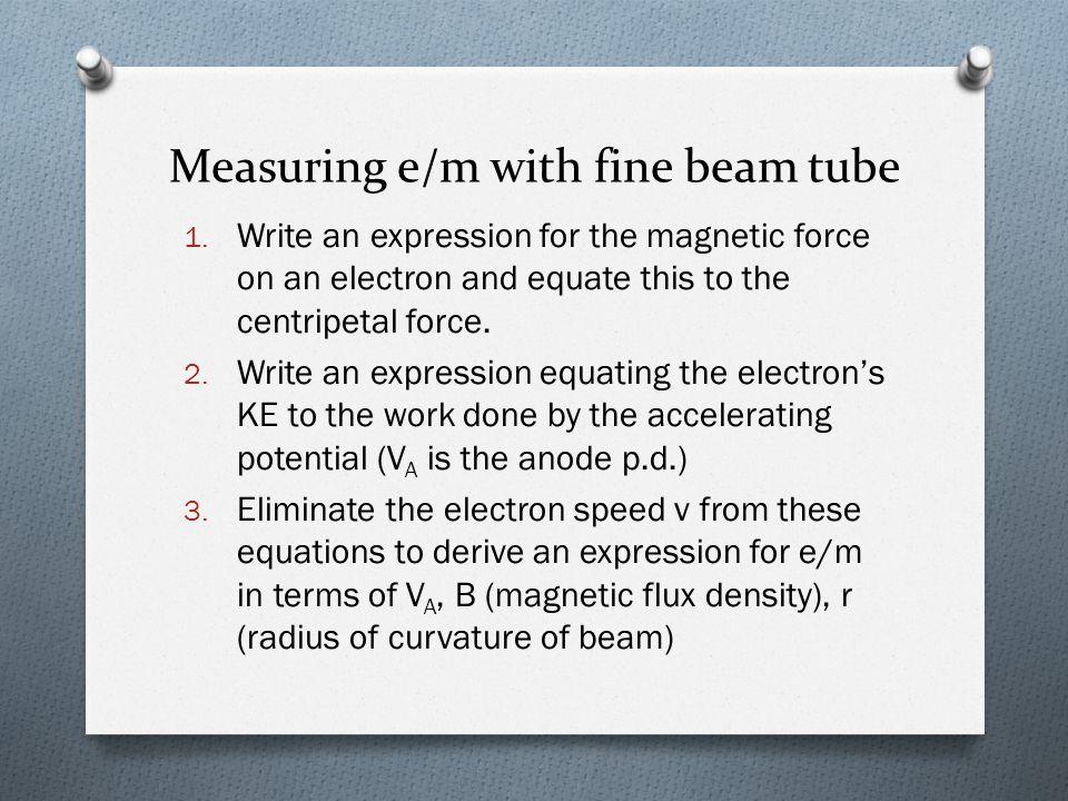 Measuring e/m with fine beam tube