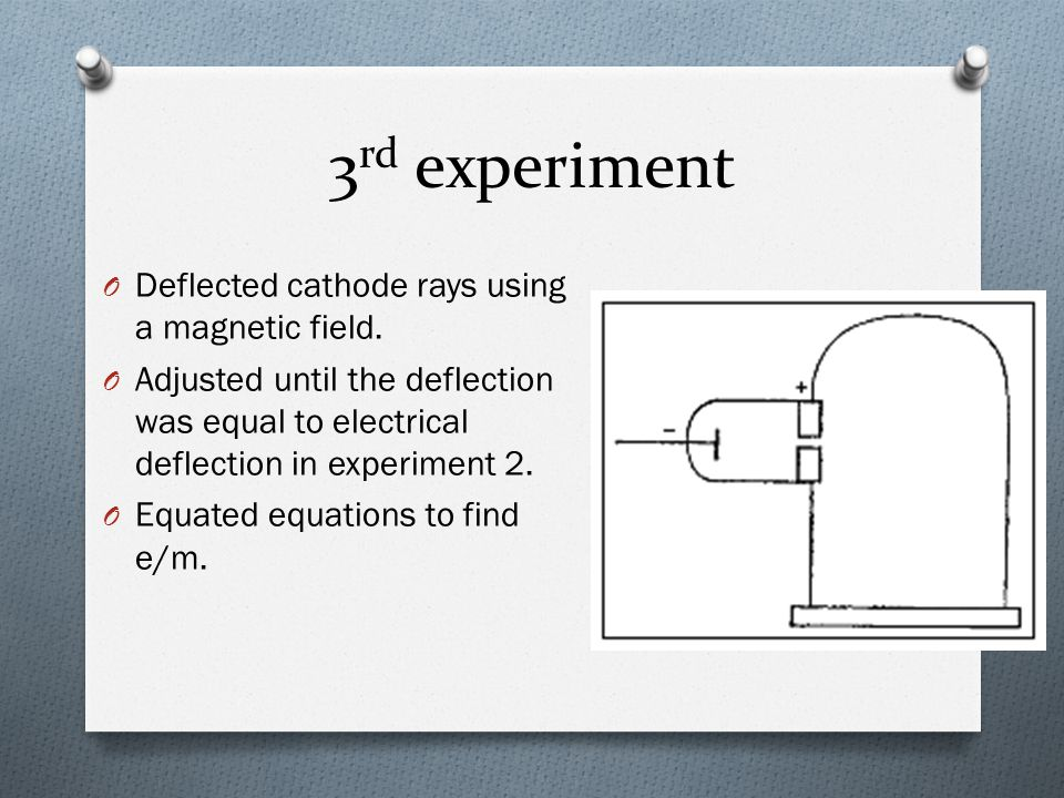 3rd experiment Deflected cathode rays using a magnetic field.