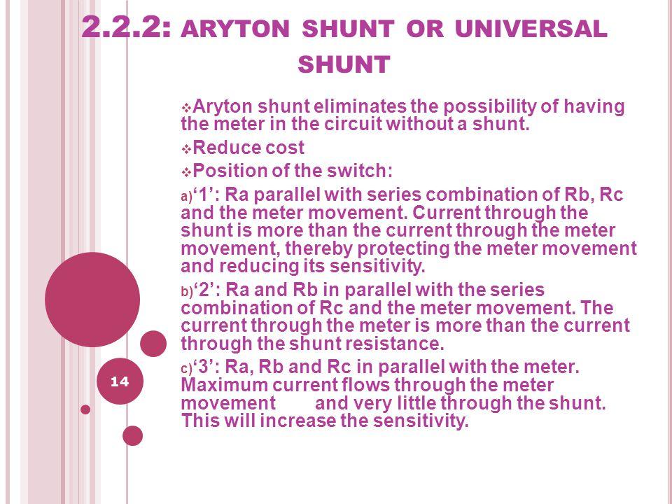 2.2.2: aryton shunt or universal shunt