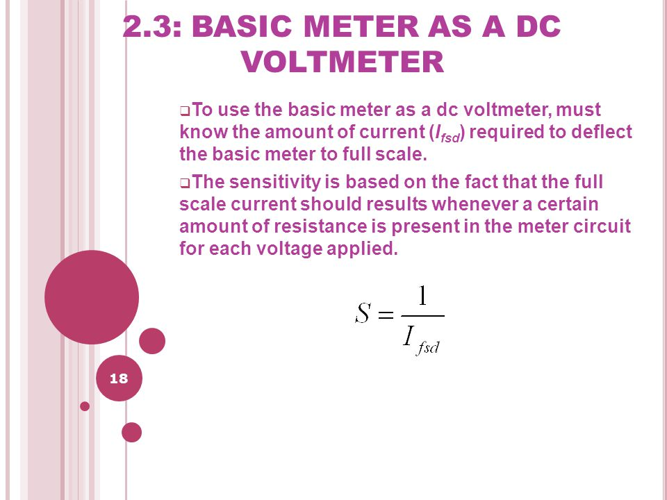 2.3: BASIC METER AS A DC VOLTMETER