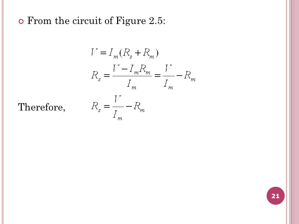 From the circuit of Figure 2.5: