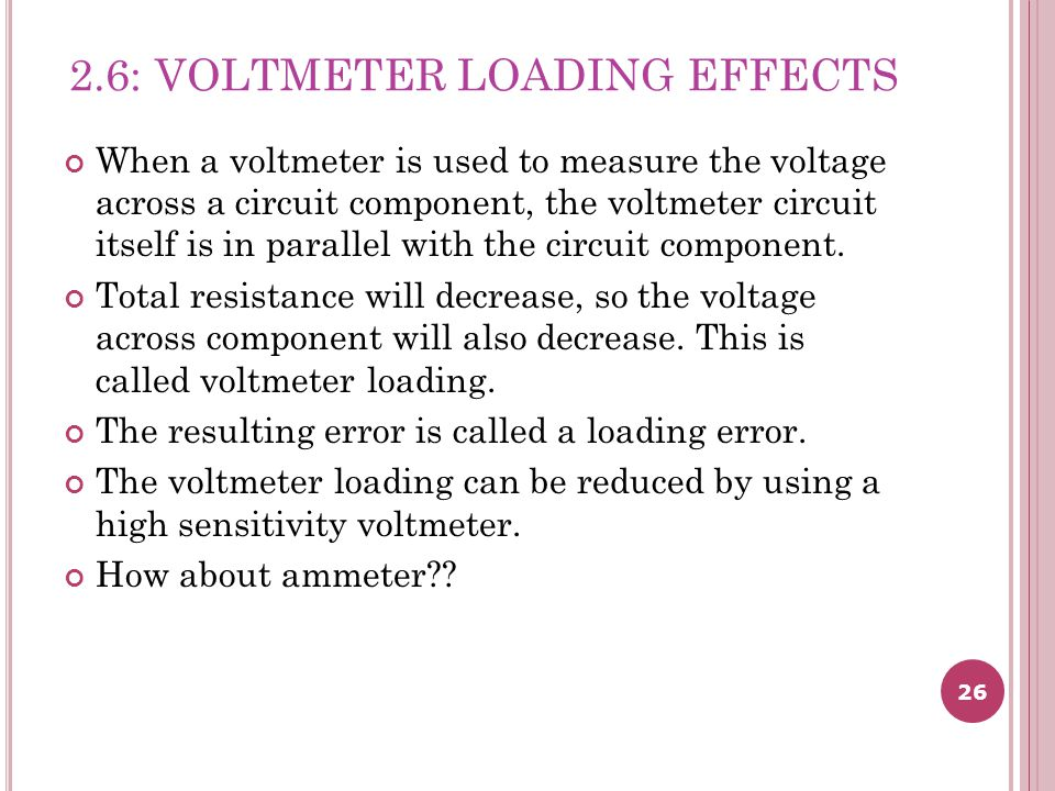 2.6: VOLTMETER LOADING EFFECTS