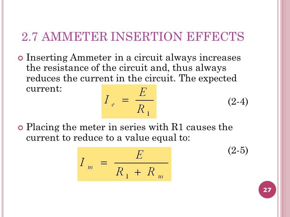 2.7 AMMETER INSERTION EFFECTS