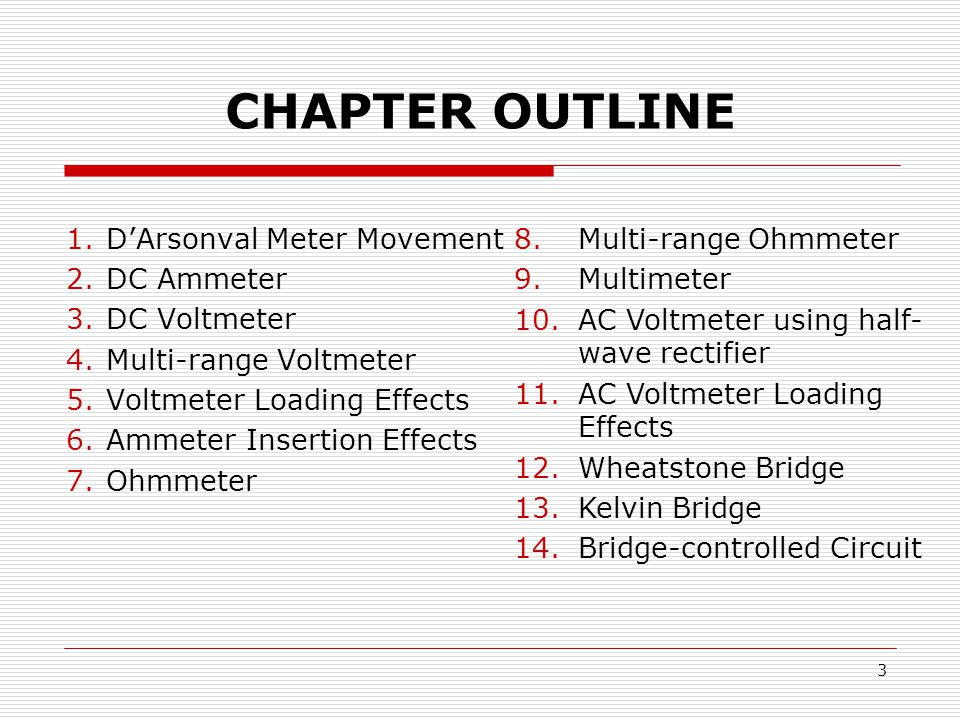 CHAPTER OUTLINE Multi-range Ohmmeter Multimeter