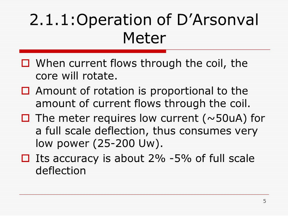2.1.1:Operation of D'Arsonval Meter