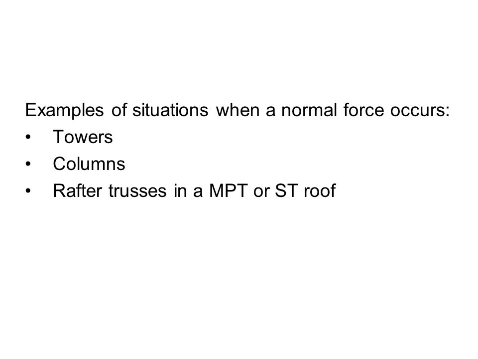 Examples of situations when a normal force occurs: