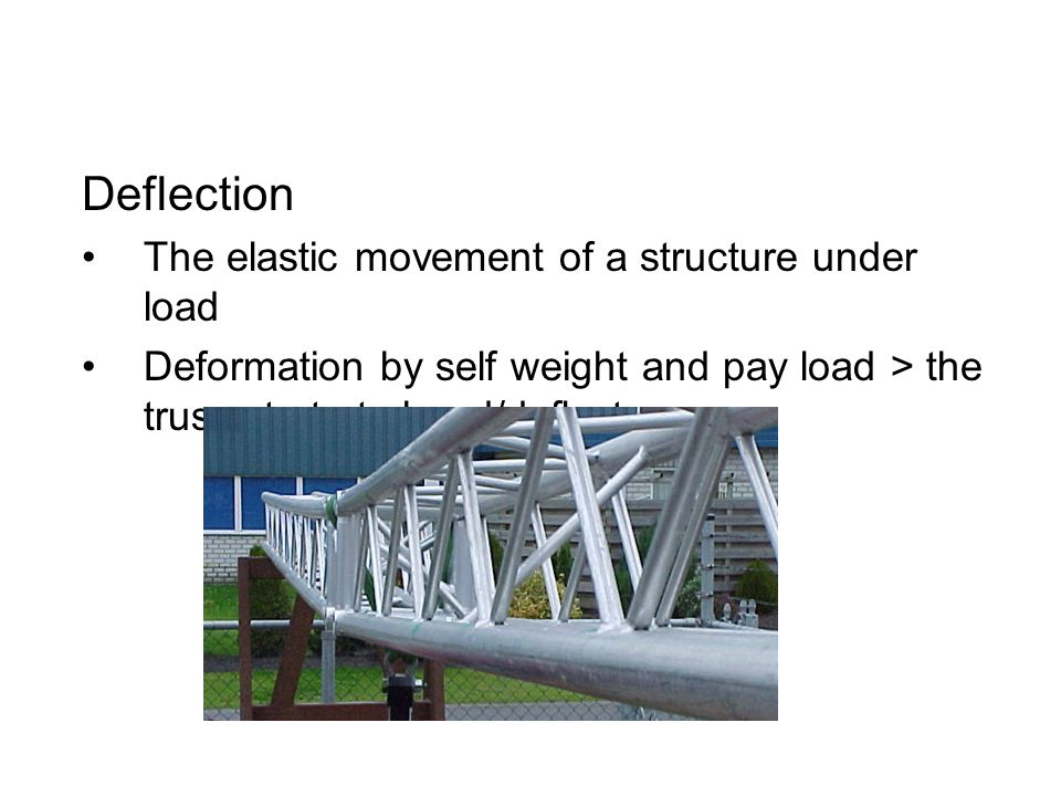 Deflection The elastic movement of a structure under load