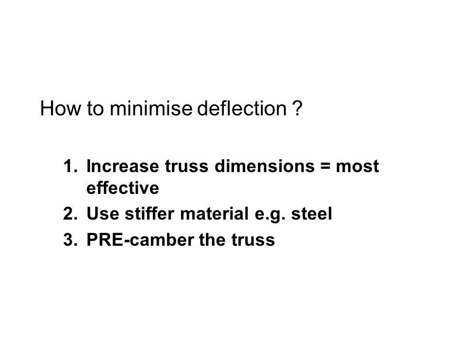 How to minimise deflection