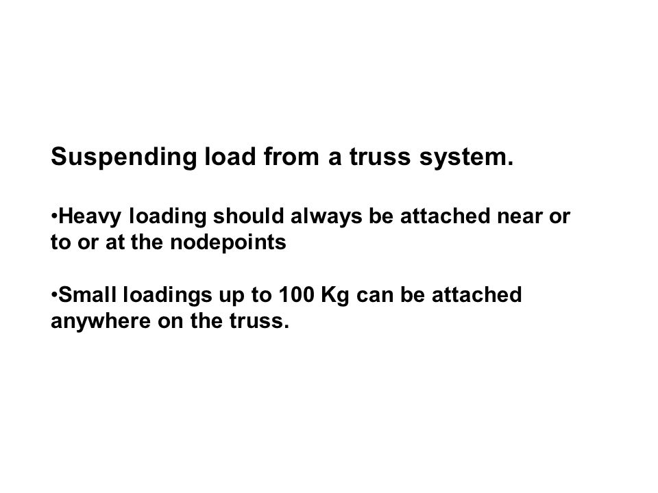 Suspending load from a truss system.