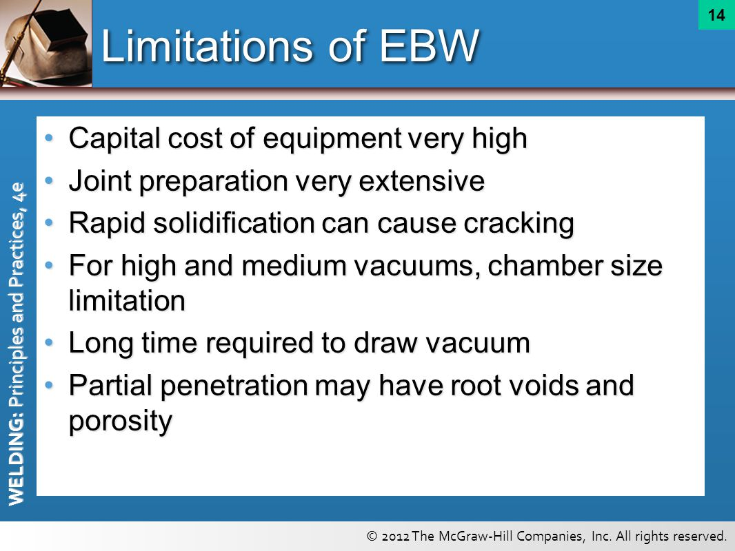 Limitations of EBW Capital cost of equipment very high