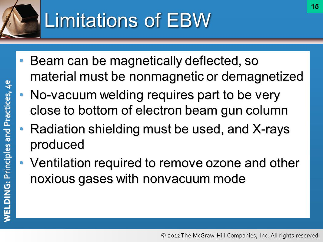 Limitations of EBW Beam can be magnetically deflected, so material must be nonmagnetic or demagnetized.
