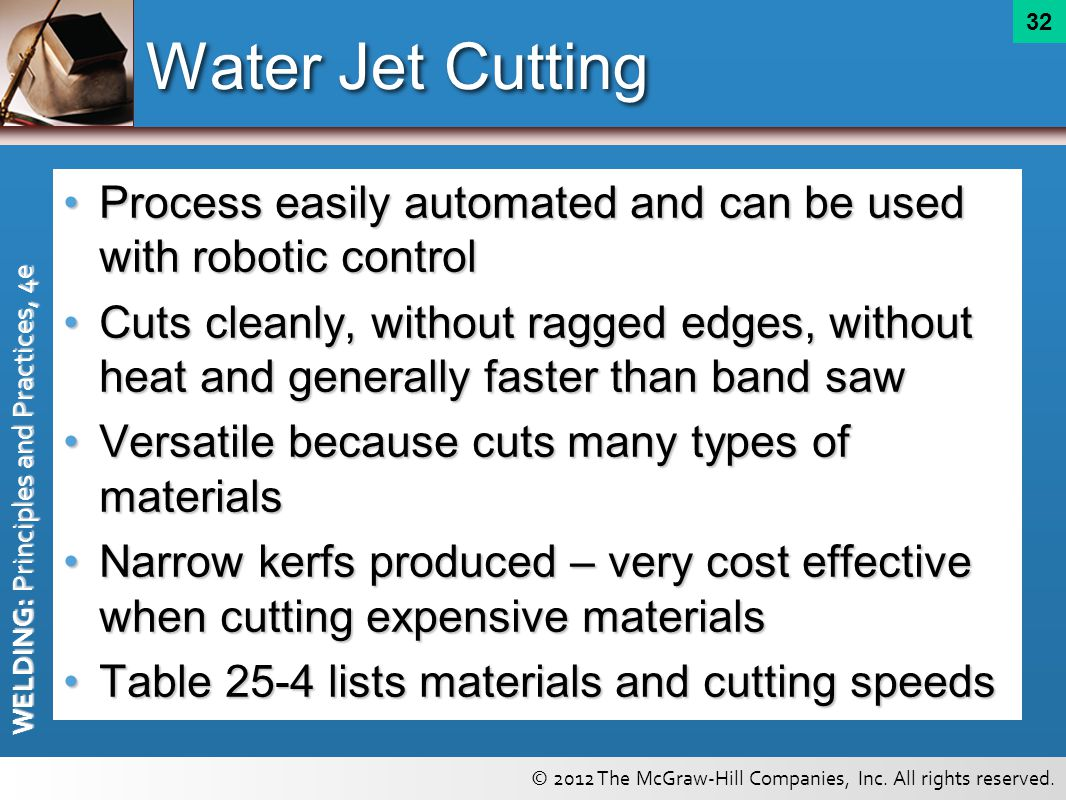 Water Jet Cutting Process easily automated and can be used with robotic control.