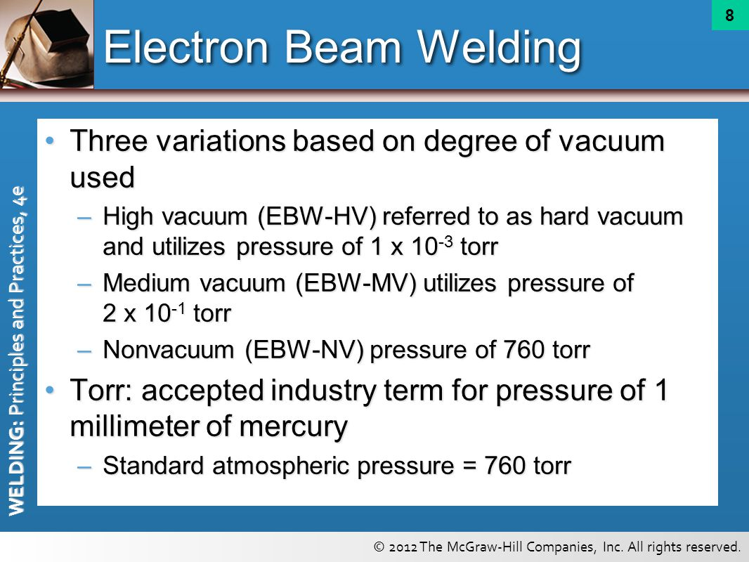 Electron Beam Welding Three variations based on degree of vacuum used