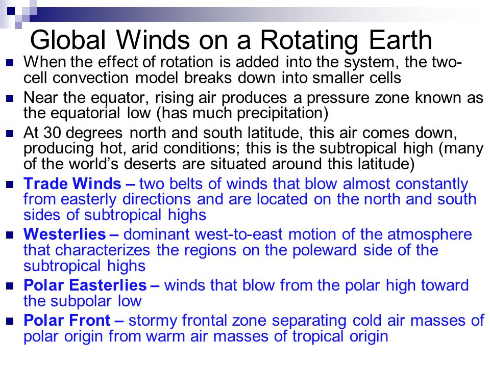 Global Winds on a Rotating Earth