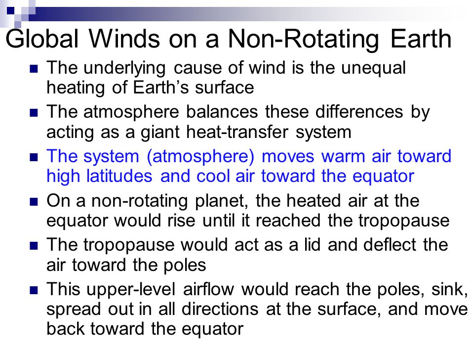 Global Winds on a Non-Rotating Earth