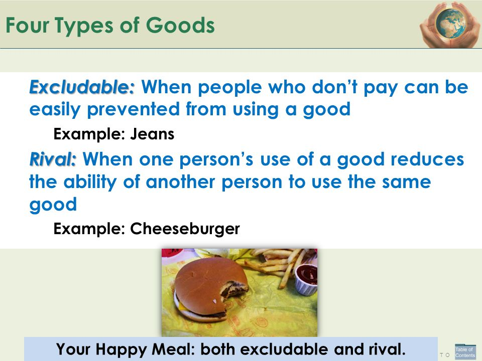 Your Happy Meal: both excludable and rival.