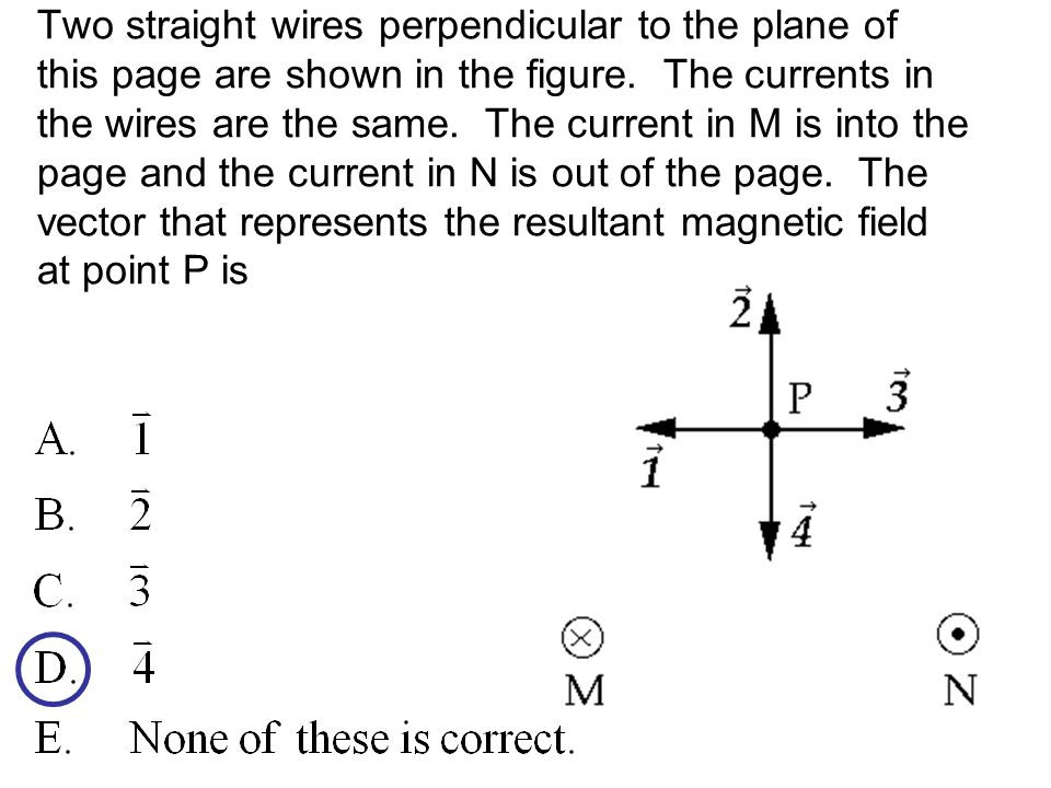 Two straight wires perpendicular to the plane of this page are shown in the figure.