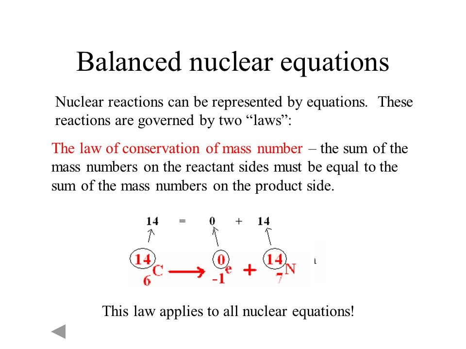 Balanced nuclear equations
