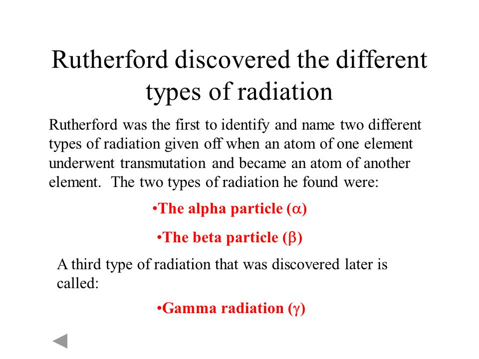 Rutherford discovered the different types of radiation