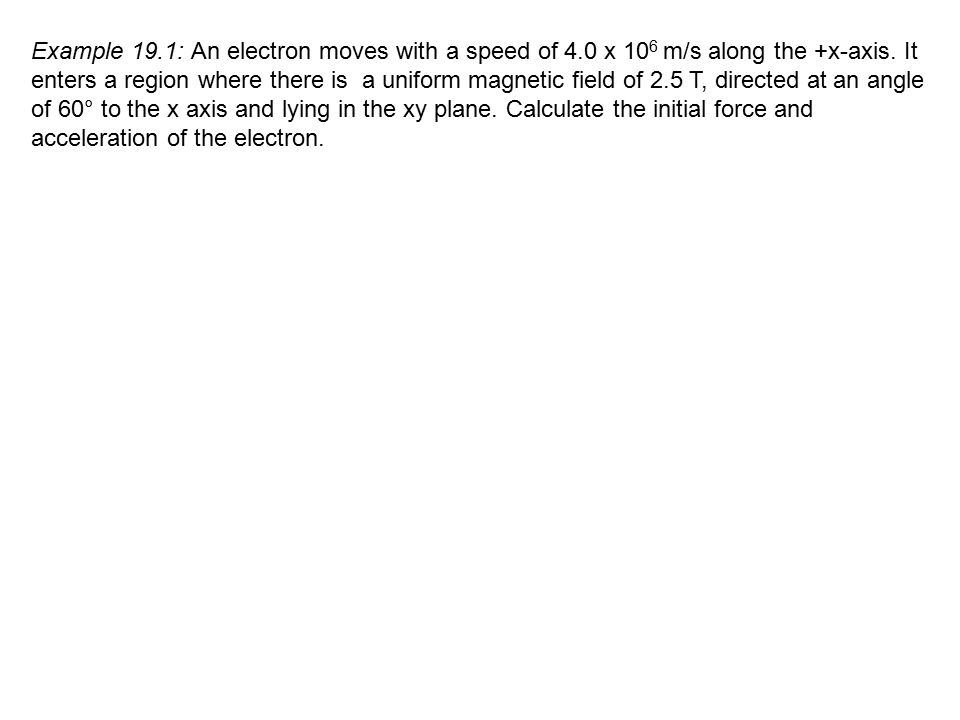 Example 19. 1: An electron moves with a speed of 4