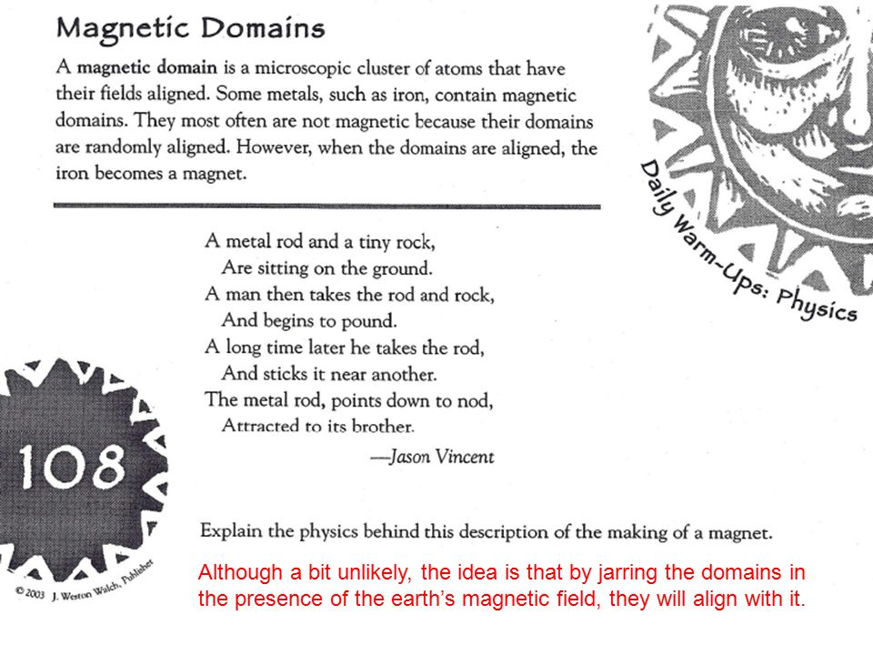 Although a bit unlikely, the idea is that by jarring the domains in the presence of the earth's magnetic field, they will align with it.