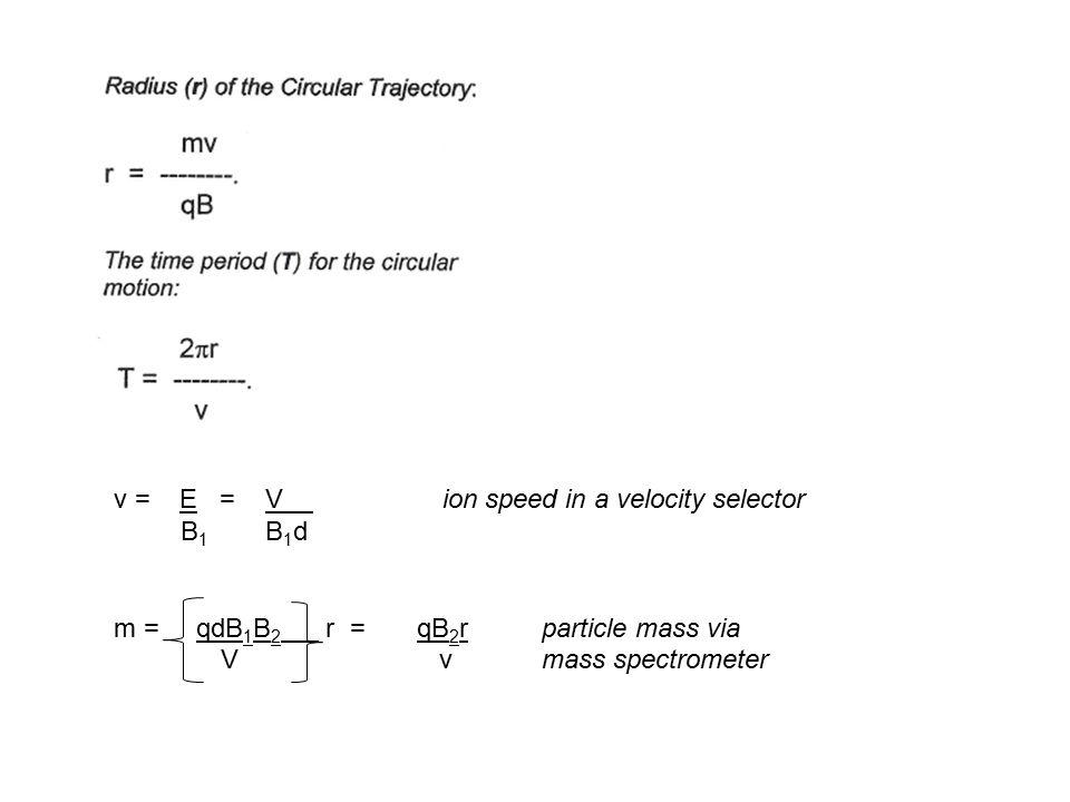 v = E = V ion speed in a velocity selector