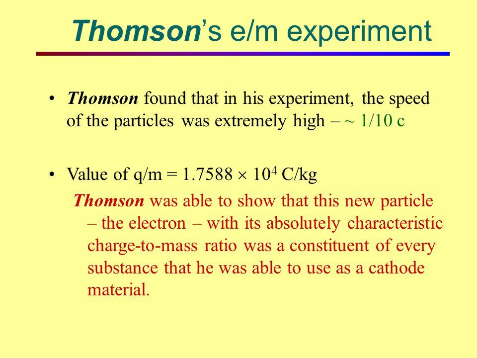 Thomson's e/m experiment