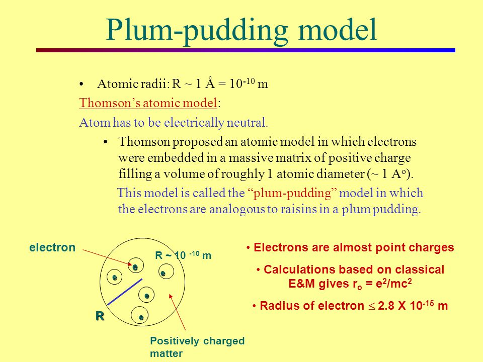 Plum-pudding model Atomic radii: R ~ 1 Å = 10-10 m