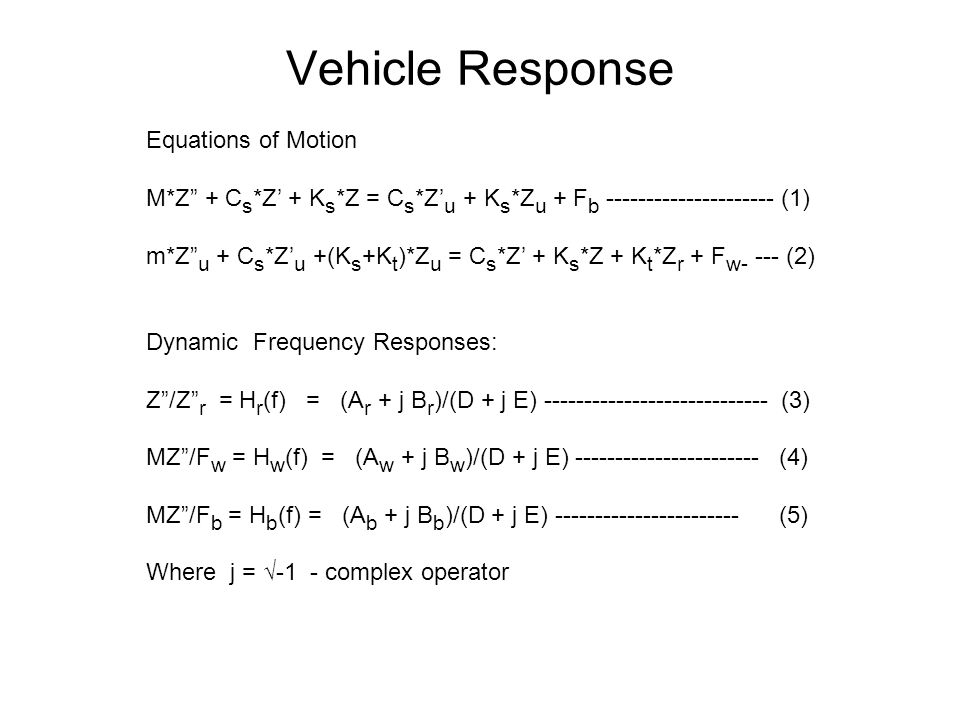 Vehicle Response Equations of Motion