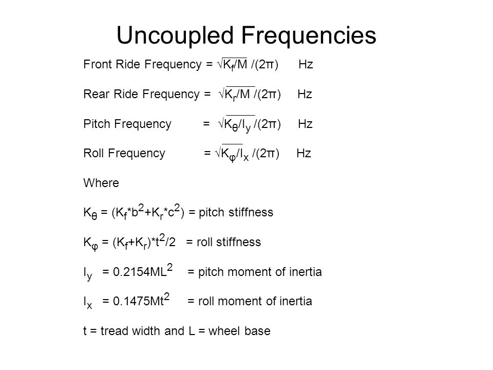 Uncoupled Frequencies