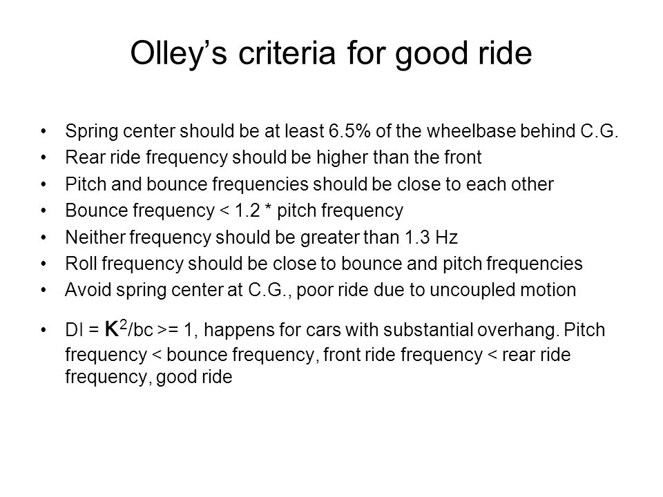 Olley's criteria for good ride