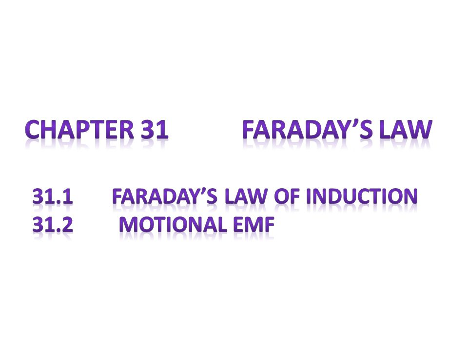 Chapter 31 Faraday's Law 31.1 Faraday's Law of Induction