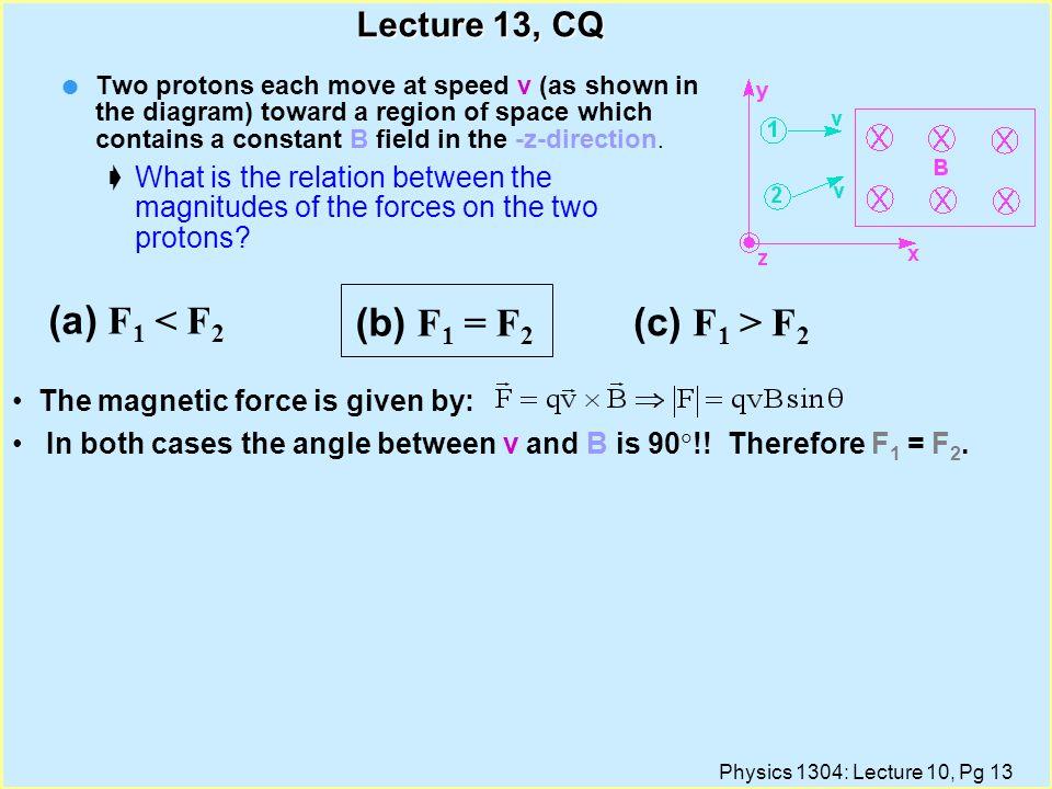 (a) F1 < F2 (b) F1 = F2 (c) F1 > F2