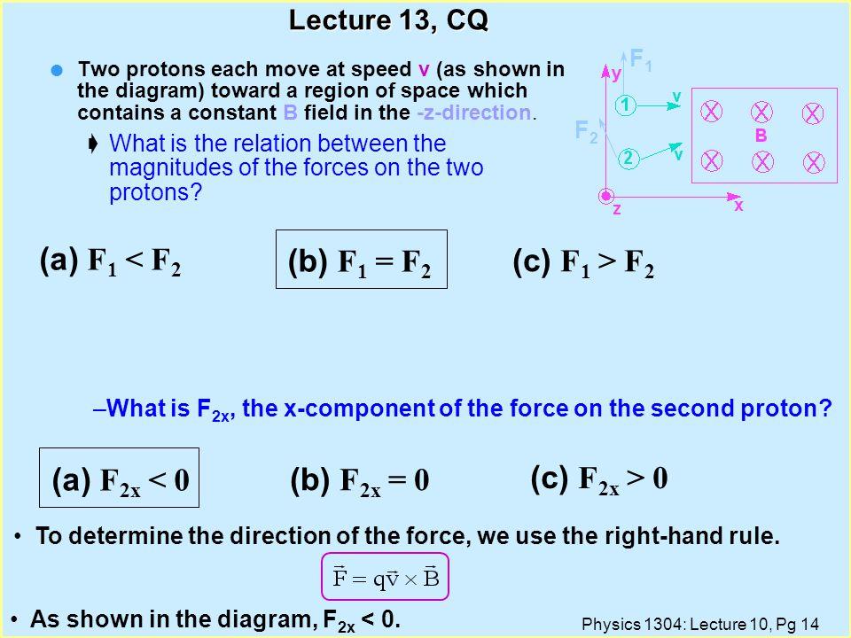 (a) F1 < F2 (b) F1 = F2 (c) F1 > F2 (a) F2x < 0 (b) F2x = 0