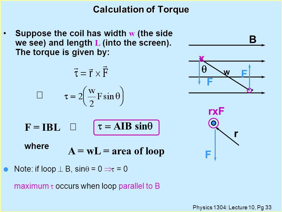 B x q F . Þ rxF Þ t = AIB sinq F = IBL r A = wL = area of loop F