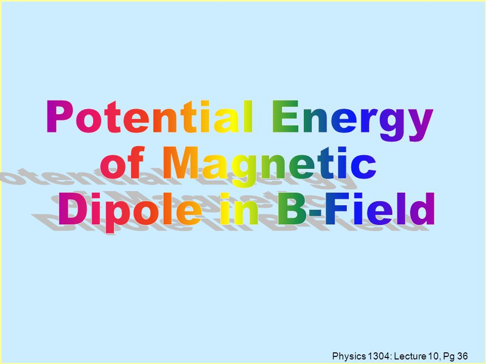 Potential Energy of Magnetic Dipole in B-Field