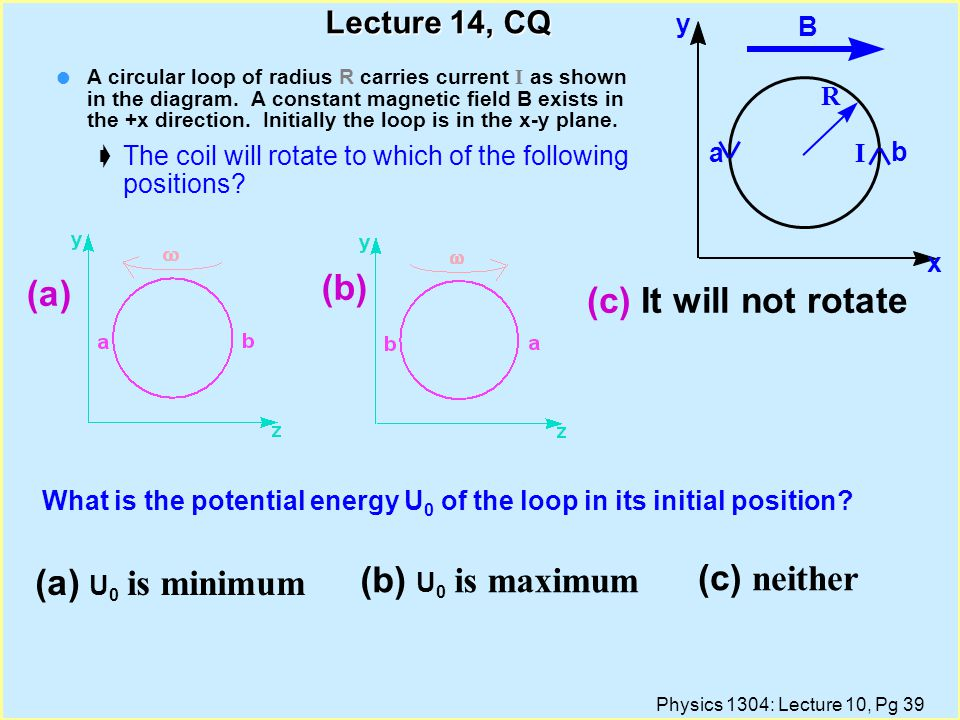 (b) (a) (c) It will not rotate (a) U0 is minimum (b) U0 is maximum
