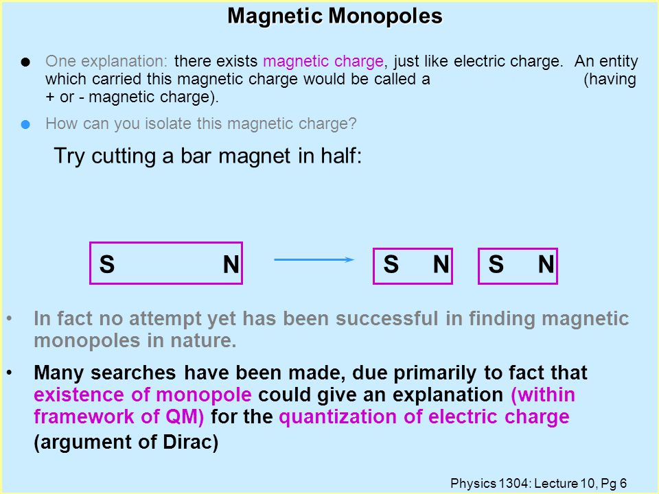 N S Magnetic Monopoles Try cutting a bar magnet in half: