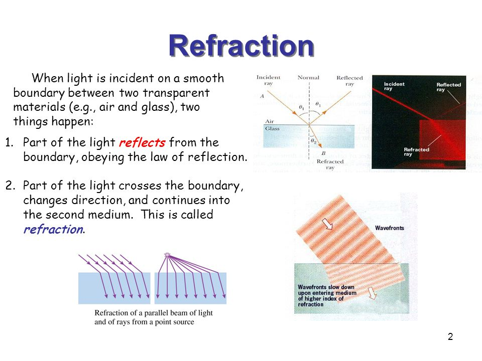 Refraction When light is incident on a smooth boundary between two transparent materials (e.g., air and glass), two things happen: