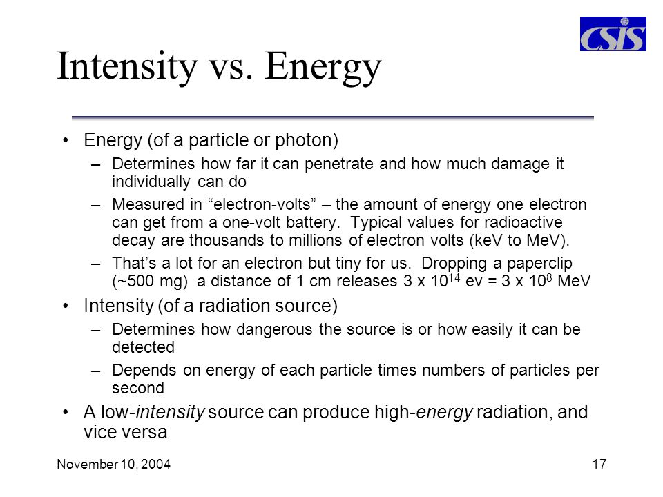 Intensity vs. Energy Energy (of a particle or photon)