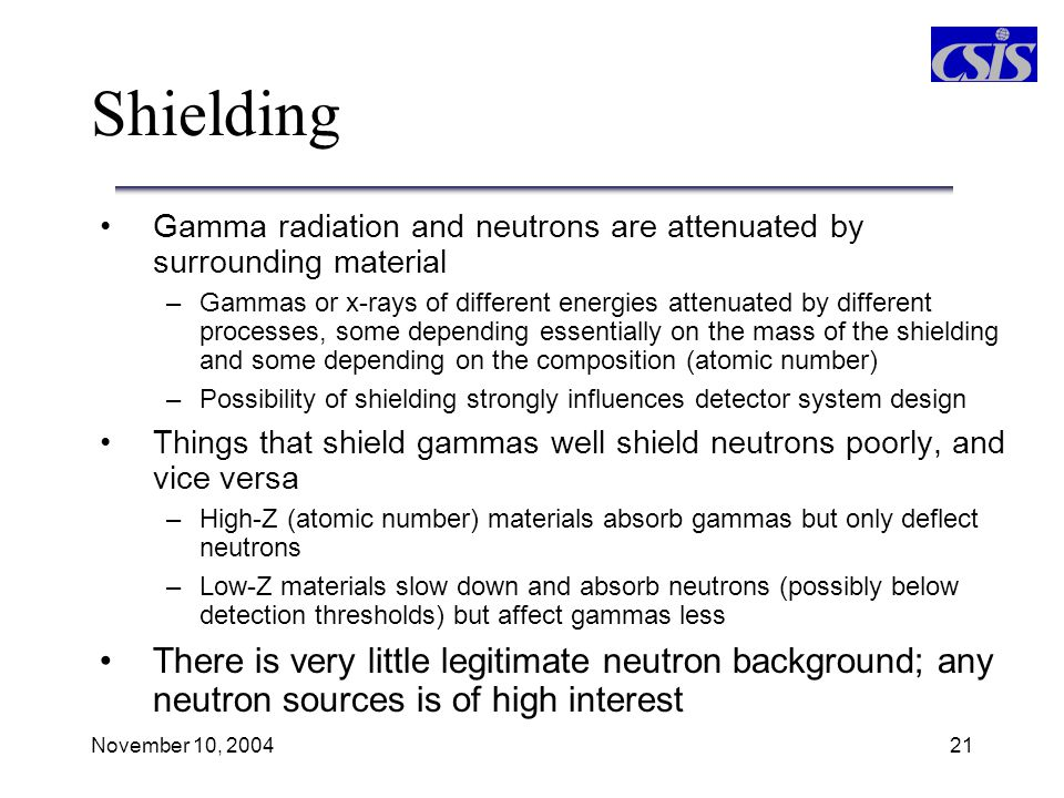 Shielding Gamma radiation and neutrons are attenuated by surrounding material.