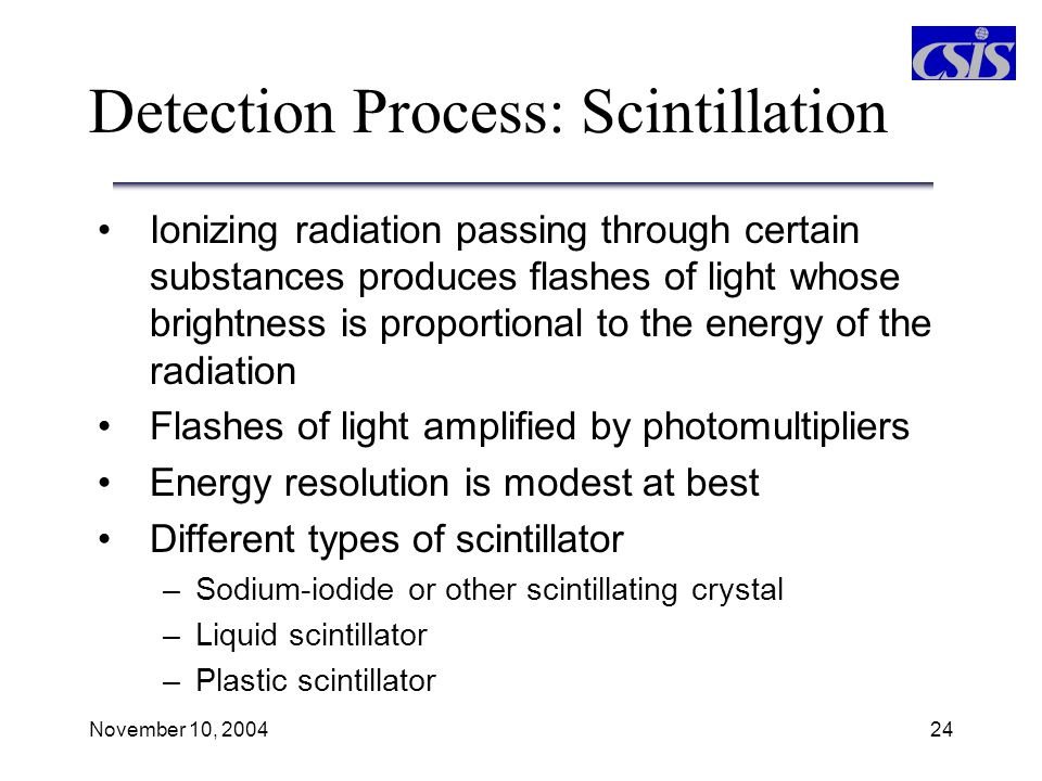Detection Process: Scintillation