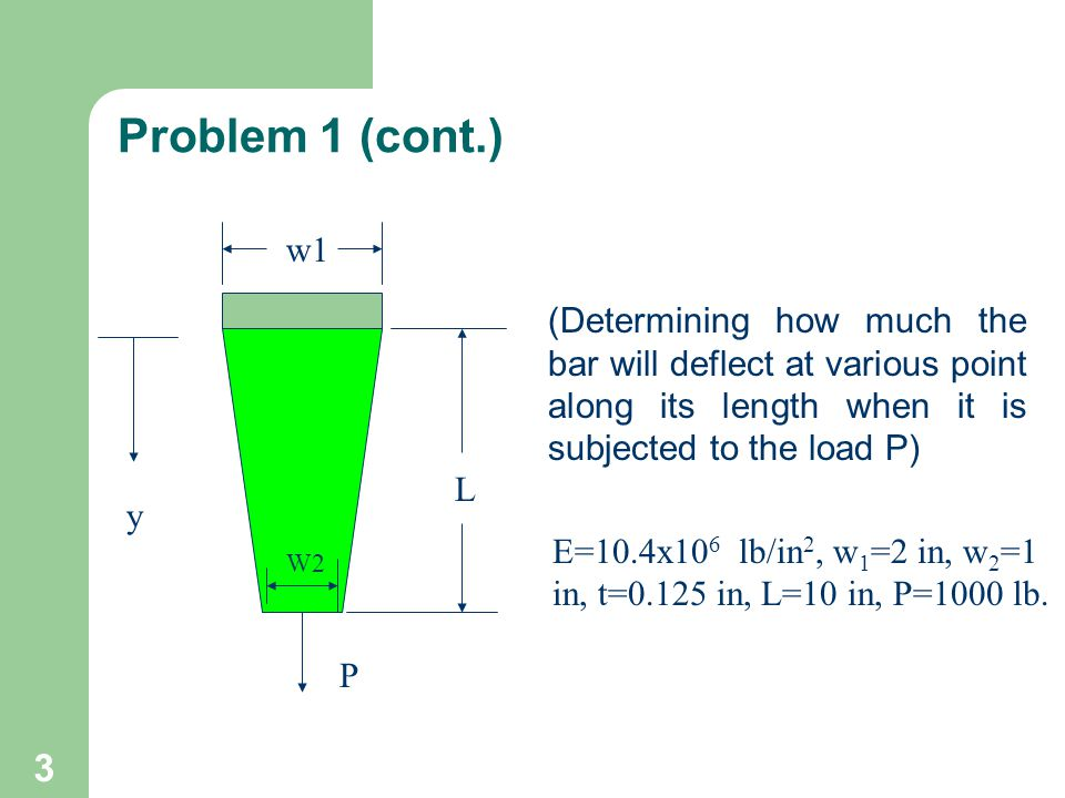 Problem 1 (cont.) w1. (Determining how much the bar will deflect at various point along its length when it is subjected to the load P)